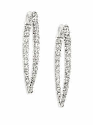 Christina Medium Diamond & 18k White Gold Hoop Earrings/1.25