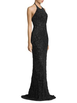Halterneck Textured Gown