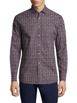 Geometric Cotton Button-Down Shirt