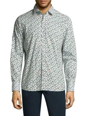 Turtle Mix Cotton Button-Down Shirt