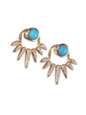 NIKOS KOULIS Spectrum Diamond and Turquoise Jacket Earrings