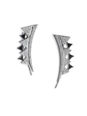 Diamond and Onyx 18K Gold Climber Earrings