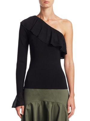 SCRIPTED One-Shoulder Ruffled Bell-Sleeve Sweater