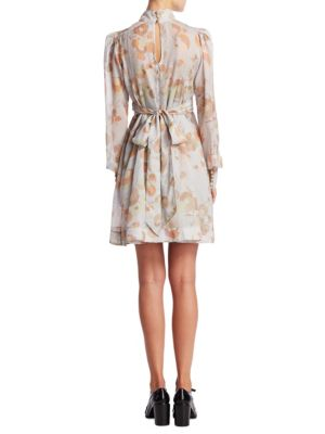 MARC JACOBS Floral Cotton-Silk Tie-Waist Dress in Grey Mult