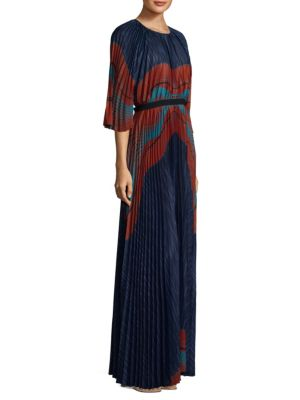 Linear Waves Flowy Print Fit-&-Flare Gown