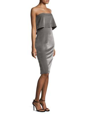 Driggs Strapless Velvet Sheath Dress