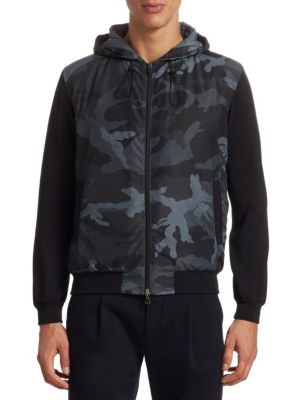 Modern Mix Media Camouflage Bomber Jacket by Saks Fifth Avenue