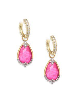 Provence Champagne Diamond & Rhodalite Earring Charms