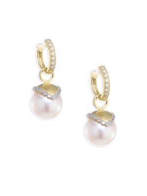 Provence Diamond & 10MM White Pearl Earring Charms