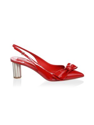 Bow Patent Leather Slingback Pumps