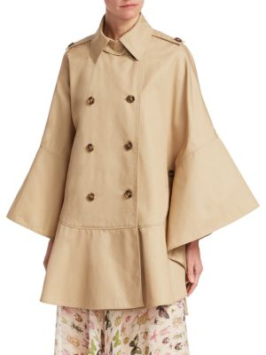 DOUBLE BREASTED COTTON CAPE TRENCH COAT