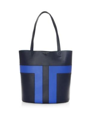 Block-T Pieced Leather Tote
