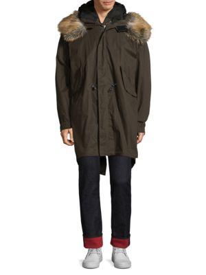 HILFIGER EDITION线形长身人造毛皮饰边风雪大衣