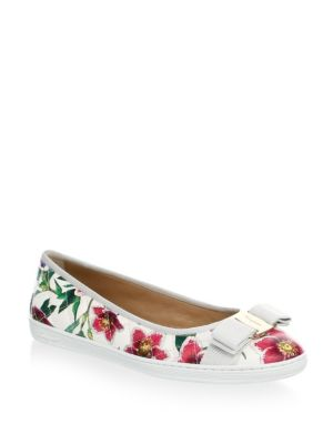 Floral Leather Flats