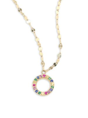 Mini Circle Rainbow Sapphire Pendant Necklace