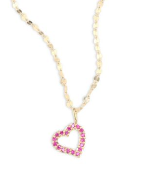 LANA GIRL Mini Heart Pink Sapphire Pendant Necklace