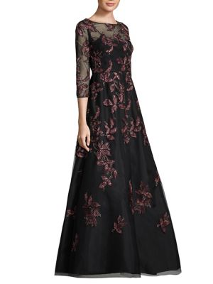 Illusion Sleeves Floor-Length Gown