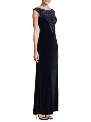 Cap Sleeves Floor-Length Shift Gown