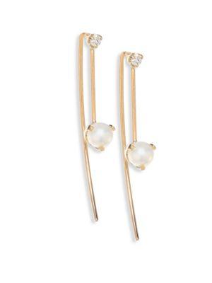 Diamond, 4MM White Pearl Threader Earrings