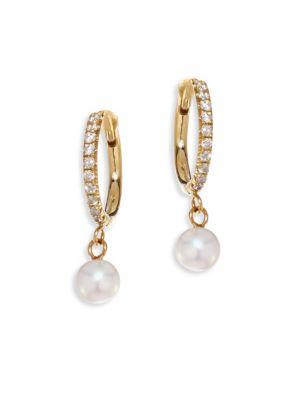 White Diamond, 4mm Freshwater Pearls & 14K Yellow Gold Hoops Earrings