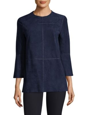 Sidra Suede Blouse by Lafayette 148 New York