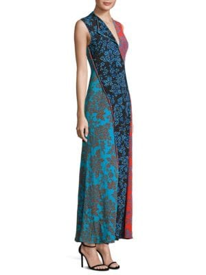 Paneled Silk Floor-Length Dress