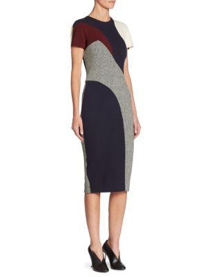 Wool Houndstooth Paneled Dress