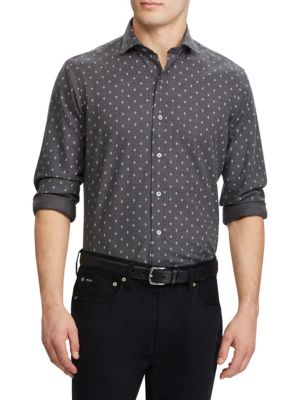 Herringbone Casual Button-Down Shirt