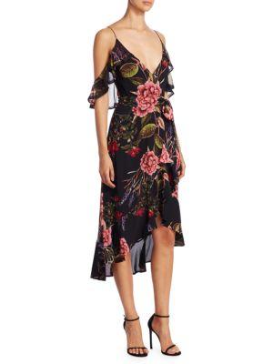 Peony Floral Wrap Silk Dress