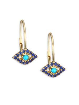 Yellow-gold Sapphire & Turquoise Evil Eye Earrings