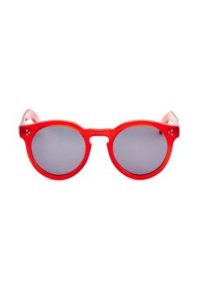 Leonard II Red 50mm Oversized Round Sunglasses