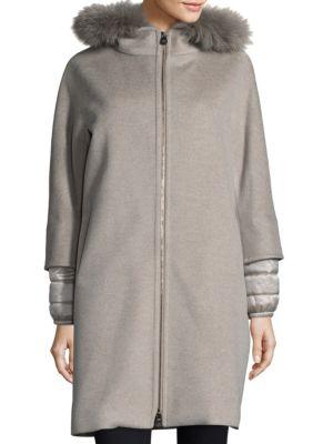 Fox Fur-Trim Mixed Media Coat