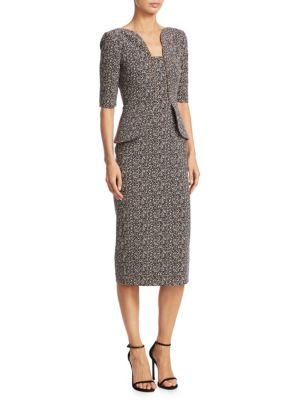 Comberton Speckled Stretch Jacquard Sheath Dress