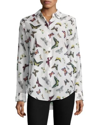 Butterfly-Print Silk Shirt by Equipment