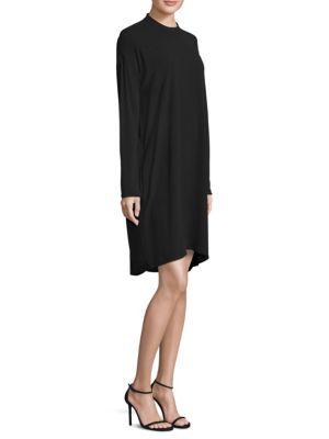 Mockneck Silk Hi-Lo Dress