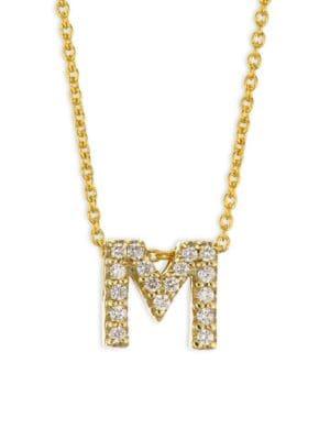 Tiny Treasures Diamond Letter Pendant & 18K Yellow Gold Necklace