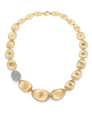 Lunaria Diamond & 18K Yellow Gold Pave Station Collar Necklace