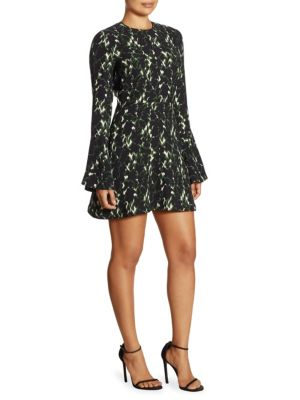 Trixie Printed Silk Bell Sleeve Dress
