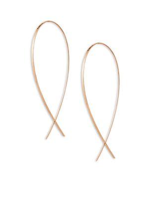 14K Rose Gold Large Wide Upside Down Hoop Earrings