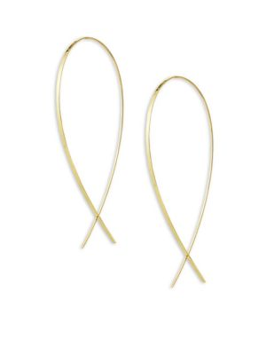 14K Yellow Gold Large Wide Upside Down Hoop Earrings