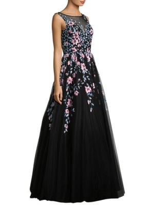 Sleeveless Embroidered Floor-Length Gown