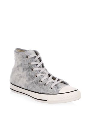 Lace-Up Faux Fur Sneakers