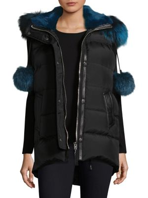 Centro Fox Fur Trim Vest