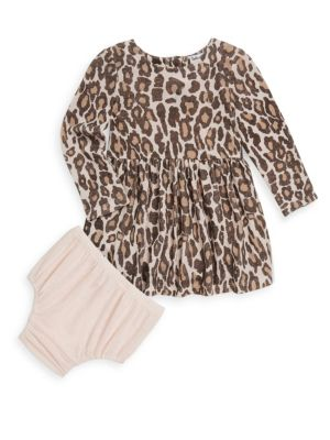 Baby Girl's Two-Piece Leopard Dress & Bloomer Set