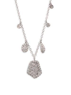 Paved Diamond & 14K White Gold Necklace