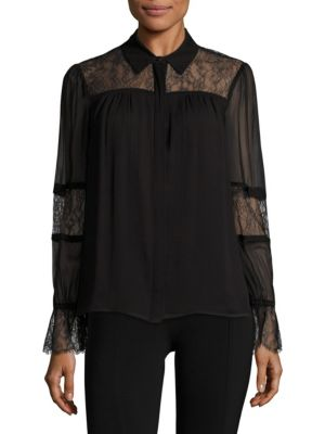 Nancy Chantily Lace Collared Shirt