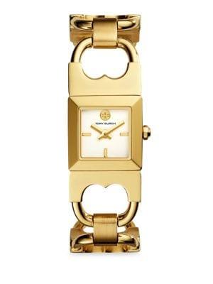 Double T Link Quartz Stainless Steel Bracelet Watch