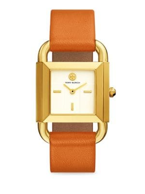 The Phipps Geometric Leather-Strap Quartz Watch