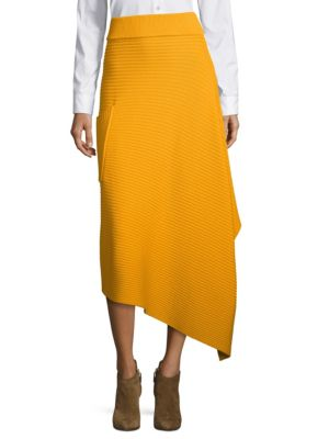 Ribbed Wool Wrap Skirt