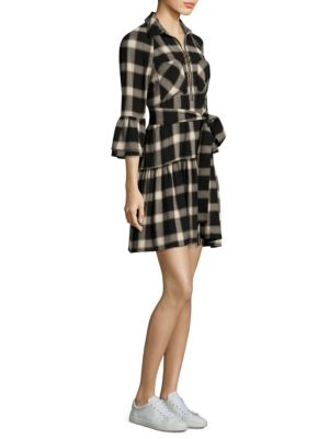 Plaid Raglan Bell Sleeve Shirtdress